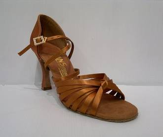 "L3006 - Cross Strap 2.5"" Heel Dark Tan Sandal"