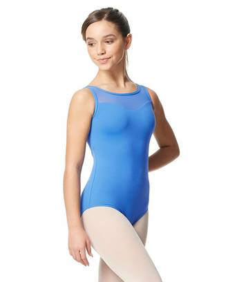 LUB350C - Girl's Mesh Yoke Tank Leotard